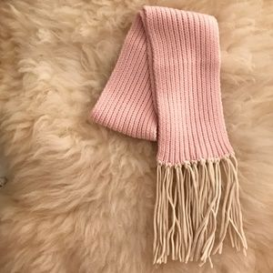 J.Crew Pink Wool & Cashmere Knit Scarf with Fringe